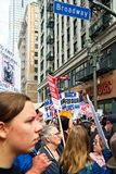 March for Our Lives movement`s march in Downtown Los Angeles. Los Angeles, California - March 24, 2018: March for Our Lives movement with protesters demanding Royalty Free Stock Photos