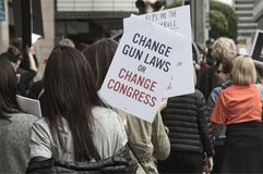 March for Our Lives movement`s march in Downtown Los Angeles. Los Angeles, California - March 24, 2018: March for Our Lives movement with protesters demanding Stock Photos