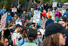 March for Our Lives movement`s march in Downtown Los Angeles. Los Angeles, California - March 24, 2018: March for Our Lives movement with protesters demanding Royalty Free Stock Image