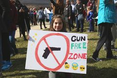 March For Our Lives Protest 13, Washington, D.C. Young, female anti-gun protestor demonstrates against teenage deaths in historically huge March For Our Lives Royalty Free Stock Photos