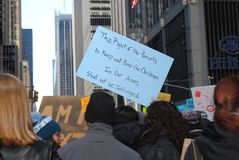 Right To Bear Arms, Parents and Children, Second Amendment, March for Our Lives, Protest, NYC, NY, USA. March for Our Lives: A protester carries a sign saying, ` Royalty Free Stock Photos