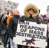 The March for Our Lives March in St. Paul, Minnesota, USA. ST. PAUL, MN/USA - MARCH 24, 2018: Unidentified individuals participating in the March for our Lives Royalty Free Stock Photos