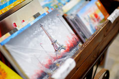MARCH 1, 2015 - PARIS: Paintings at souvenir shop Royalty Free Stock Photography