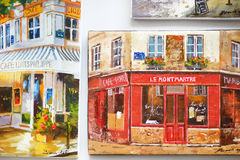 MARCH 1, 2015 - PARIS: Paintings at souvenir shop Royalty Free Stock Photos