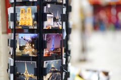 MARCH 1, 2015 - PARIS: Postcards at souvenir shop Royalty Free Stock Image