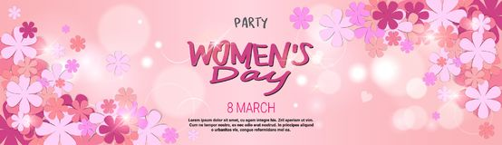 8 March Party Invitation Happy Womens Day Background Horizontal Banner Beautiful Holiday Decoration. Vector Illustration Stock Image