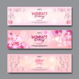 8 March Party Invitations Set Happy Womens Day Background Horizontal Banner Beautiful Holiday Decoration. Vector Illustration Royalty Free Stock Images