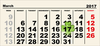 March 17 Patricks day calendar. Illustration in vector format Stock Image