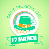 17 March  Patricks Day green. Calendar for each day on March Royalty Free Stock Photo