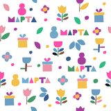 8 march pattern. Seamless vector pattern of flowers and gifts icons on a white background. Wrapping paper. 8 march - international women`s day. Translation: 8 stock illustration