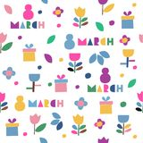 8 march pattern. Seamless vector pattern of flowers and gifts icons on a white background. Wrapping paper. 8 march - international women`s day stock illustration
