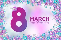 Abstract floral greeting card. Flowers on pink blurred background 8 March. Happy Women`s Day. 8 March pink-blue floral greeting postcard. Abstract spring poster stock illustration