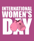 8 March. Pink boxing gloves symbol of struggle and protection. i. Nternational womens day stock illustration