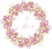 8 March. Floral Greeting card. International Happy Women s Day. Trendy Design Template. Vector illustration. 8 March. pink Floral Greeting card. International vector illustration