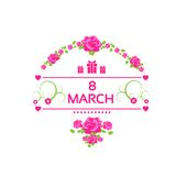 8 march pink gift card with rose isolated white Stock Image