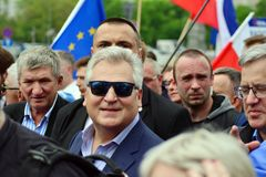 March `Poland in Europe`. Former Polish president Aleksander Kwasniewski. Warsaw,Poland. 18 May 2019. March `Poland in Europe`. Former Polish president royalty free stock images