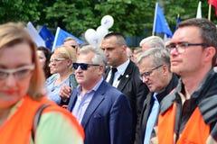 March `Poland in Europe`. Former Polish president Aleksander Kwasniewski. Warsaw,Poland. 18 May 2019. March `Poland in Europe`. Former Polish president royalty free stock image