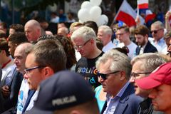 March `Poland in Europe`. Former Polish president Aleksander Kwasniewski. Warsaw,Poland. 18 May 2019. March `Poland in Europe`. Former Polish president stock images