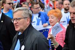 March `Poland in Europe`. Former Polish president Bronislaw Komorowski. Warsaw,Poland. 18 May 2019. March `Poland in Europe`. Former Polish president Bronislaw stock photography