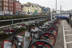 18 March 2018 The popular Coke Zero bike hire stand on Father Mathew Quay in Cork City Ireland