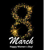 8 march postcard. Glitter digit eight made of many shiny dots on black background. Glowing International women`s day banner. Or poster or card. Vector Stock Photo