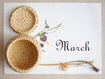 March 8, postcard. International Women`s Day. stock image