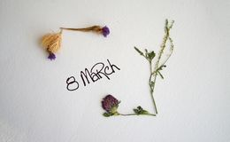 March 8, postcard. International Women`s Day. royalty free stock photography