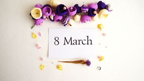 March 8, postcard. International Women`s Day. royalty free stock photo