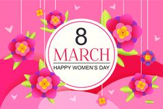 8 march poster. Happy women`s day holiday. Vector illustration Stock Image