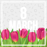 8 March poster with tulips and memphis pattern on background. Typographic poster design with flowers Stock Photo
