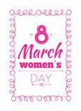 8 March Poster Wishes on International Women s Day. 8 March poster best wishes on International women s day vector illustration congratulations isolated on white Royalty Free Stock Photos