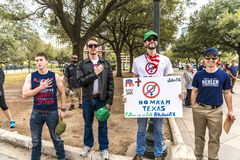 MARCH 3, 2018, PRO-TRUMP RALLY, AUSTIN TEXAS - Pro-Trump Activists Hold Hand over heart during. PresidentVisit, Conservative. MARCH 3, 2018, PRO-TRUMP RALLY royalty free stock photo