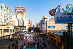 March 2016 - Qingdao, China - Taidong walking street Royalty Free Stock Photos