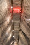 March 3rd Slanic Romania, Unirea salt mine, main underground gallery ceiling. March 3rd Slanic Romania, Unirea salt mine, main underground visiting gallery Stock Photo