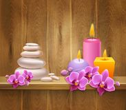 8 March Realistic Background. With colorful candles flowers and spa stones on wooden shelf vector illustration Royalty Free Stock Image