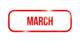 March - red grunge rubber, stamp.  royalty free illustration