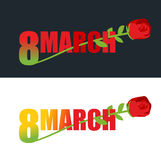 8 March. Red Rose and text. flower grows out of 8 digits. Emblem Royalty Free Stock Images
