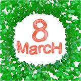 8 March red symbol flying in the space and round by frame made of green gems. Can be used as a decorative greeting grungy or postc. Ard for international Woman's vector illustration