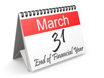 March 31 on Red and white calendar. 3D rendering Royalty Free Stock Images