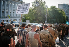 March of Right Sector. July 3, 2015. Kiev, Ukraine.  March of Right Sector and battalion Aydar in the center of Kiev Royalty Free Stock Image