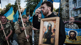 March of Right Sector. July 3, 2015. Kiev, Ukraine.  March of Right Sector and battalion Aydar in the center of Kiev Stock Photos