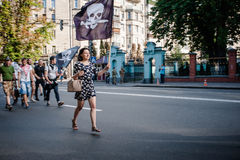 March of Right Sector. July 3, 2015. Kiev, Ukraine.  March of Right Sector and battalion Aydar in the center of Kiev Stock Image