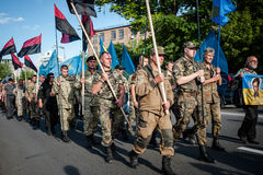 March of Right Sector. July 3, 2015. Kiev, Ukraine.  March of Right Sector and battalion Aydar in the center of Kiev Stock Photo