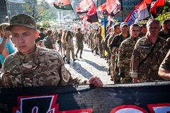 March of Right Sector. July 3, 2015. Kiev, Ukraine.  March of Right Sector and battalion Aydar in the center of Kiev Royalty Free Stock Photo