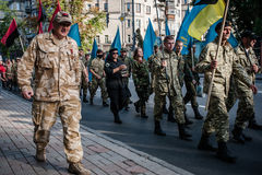 March of Right Sector. July 3, 2015. Kiev, Ukraine.  March of Right Sector and battalion Aydar in the center of Kiev Stock Images