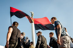 March of Right Sector. July 3, 2015. Kiev, Ukraine.  March of Right Sector and battalion Aydar in the center of Kiev Royalty Free Stock Photography