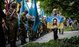 March of Right Sector. July 3, 2015. Kiev, Ukraine.  March of Right Sector and battalion Aydar in the center of Kiev Royalty Free Stock Photos