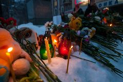 27 March 2018, RUSSIA, VORONEZH: The action of commemorating the victims of the fire in the shopping center in Kemerovo. 27 March 2018, RUSSIA, VORONEZH: The Stock Photography