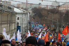 The March of Russian opposition against war with Ukraine. MOSCOW, RUSSIA - March 15, 2014: the March of Russian opposition against war with Ukraine Stock Image