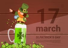 17 March Saint Patricks Day Background With Green Man Leprechaun On Beer Glass. Flat Vector Illustration Royalty Free Stock Photography